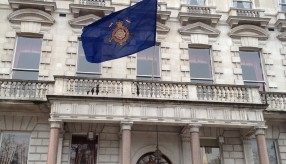 Sash Smart out side the Cavalry Guards Club W1